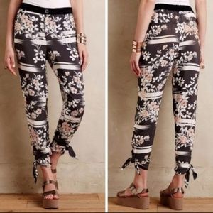 Gray floral crop pants by Elevenses